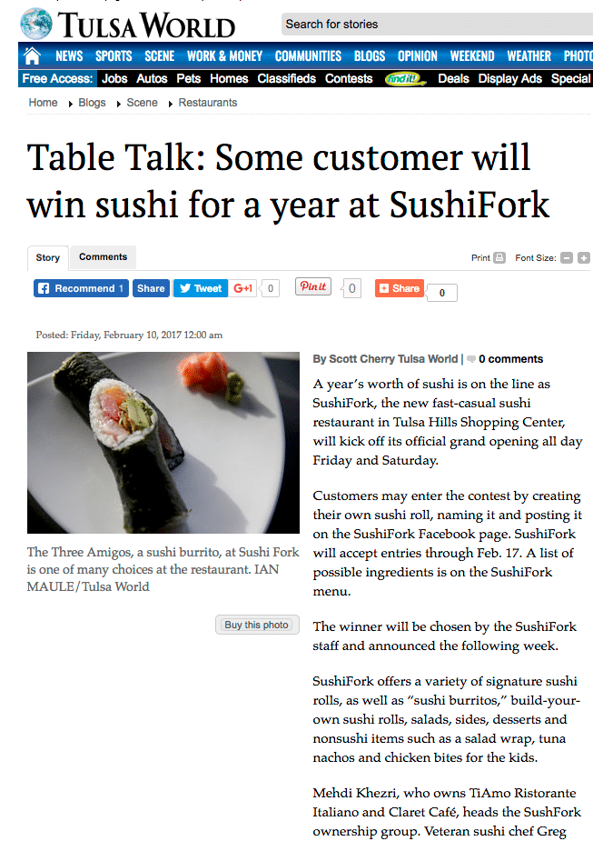 SushiFork - Tulsa World - Table Talk