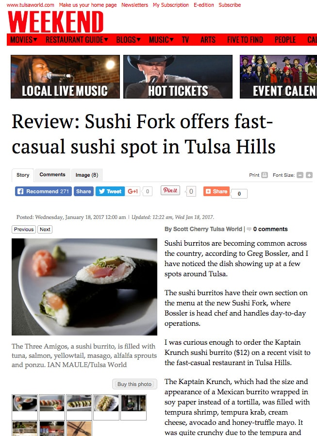 SushiFork Tulsa World Review